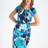 Rochie office conica Hermosa din satin imprimat